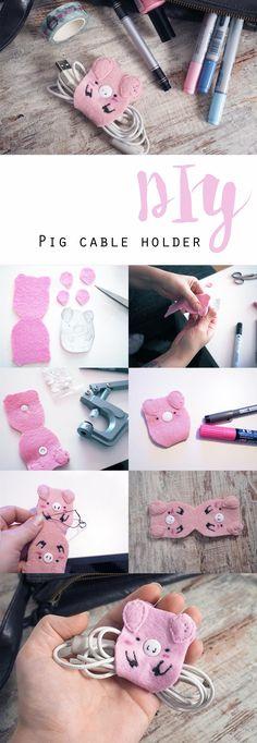 DIY cute pig cable holder • Tutorial • Kabel-Halter für Kopfhörer • Nie mehr verhedderte Kabel!
