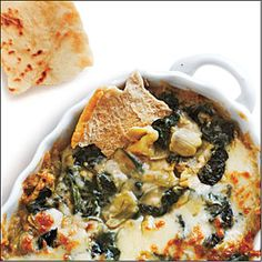 Spinach and Artichoke dip using white beans. I use fat free cream cheese instead of mayo-- so good!