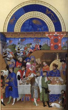 John, Duke of Berry enjoying a grand meal. The Duke is seen sitting at the high table surrounded by numerous servants, guests and dependents. Illustration from Très Riches Heures du Duc de Berry, ca Medieval Life, Medieval Art, Medieval Manuscript, Illuminated Manuscript, Berry, Renaissance Kunst, Green Knight, Book Of Hours, Prayer Book