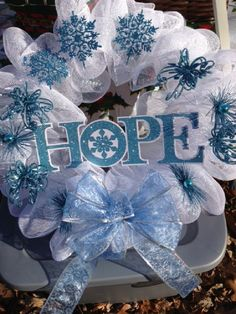 Hope deco-mesh wreath