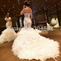 Feather Wedding Dress Kleinfeld's