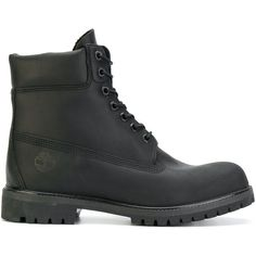 Timberland lace-up combat boots ($188) ❤ liked on Polyvore featuring men's  fashion, men's shoes, men's boots, black, mens black combat boots, mens  black ...