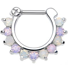 """16 Gauge 5/16"""" Alluring Faux Opal and Light Purple Gem Septum Clicker 