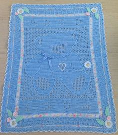 My work, my design - a crochet cot blanket for a baby boy..