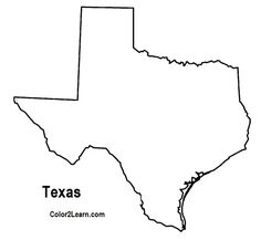 texas coloring pages | State of Texas outline map Coloring Page