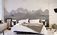 Removable Wallpaper // Fancy Room // For Fast Apply // Esy Installation // Easy and Fast Remove //FOGGY MOUNTAINS // design by  IMIELSKY