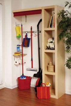Stowed away invisibly , Hidden storage space DIY Academy. Diy Storage Space, Hidden Storage, Diy Academy, Cleaning Closet, Shed Homes, Home Organization, Home And Living, Shelving, Sweet Home