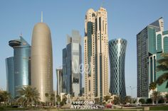 Futuristic skyscrapers downtown in Doha, Qatar, Middle East Stock Photo