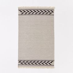Steven Alan Arrow Border Cotton Kilim Rug, Feather Gray, 3'x5'