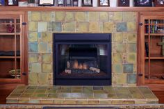Custom tile and tile design in the Craftsman tradition. Fireplace Tile, Craftsman Fireplace, Bungalow Decor, Fireplace Design, Handmade Home Decor, Custom Fireplace, Fireplace Lighting, Craftsman Tile, Fireplace Surrounds