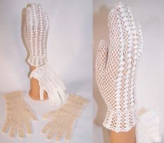 This 2 pair lot of vintage hand made France ecru and white knit crochet lace bridal wedding gloves date from the 1950s.