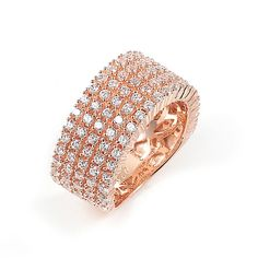 5 Rows of Prong Set CZ Wide Band Ring (14K Rose Gold)