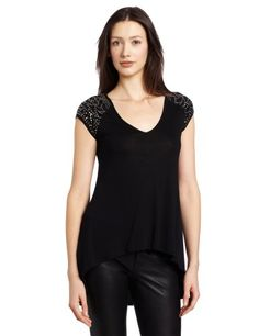 Bcbgmaxazria Women's Eniko High Low Tunic With Shoulder Detail, Black, X-small