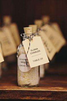 salt wedding favor that doubles as an escort card, photo by Clean Plate Pictures http://ruffledblog.com/stylish-green-building-wedding #weddingideas #weddingfavor