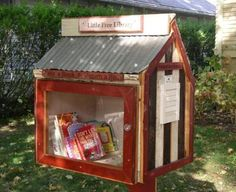 """Fun idea - the """"Little Free Library"""" - designed to hold ~20 books for your neighbors to share & read, and also add their own books you can borrow!"""