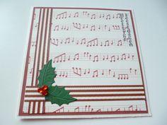 kerstkaart, kerst, hulst, muzieknoten