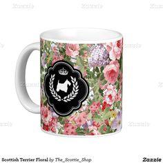 Scottish Terrier Floral Classic White Coffee Mug