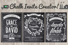 "Chalk Invite Creator Bundle - Wedding Invite - 5"" x 7"" RSVP Card - 5"" x 3.50"" Save the Date - 4"" x 6"" Dinner Menu- 5"" x 7"""