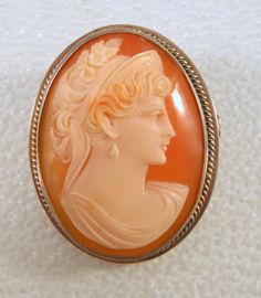 Antique Cameo Brooch Carved Shell 800 Silver Early 1900s