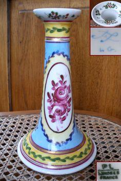 ancien bougeoir en porcelaine Limoges décor marque de Sèvres initiale L.G