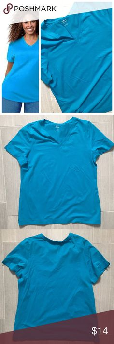 Avenue Blue Vneck Shortsleeve Tee Plus Size Avenue 'your tee' collection short sleeve tshirt in blue. Size 14/16. 95% cotton 5% spandex. Vneck and small slits on sides. Also selling in white, coral, and red size 18/20. See separate listings and bundle for a discount! Last phot shows other options! First photo on left not actual item just showing for styling inspiration! Avenue Tops Tees - Short Sleeve