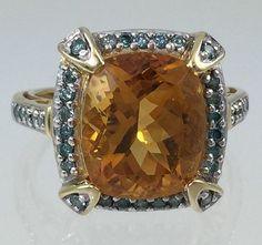 Citrine & Blue Diamond 14K Fine Estate Ring - 6 Carat Orange Rectangular Cushion Cut Citrine RNG3539 Circa 1980