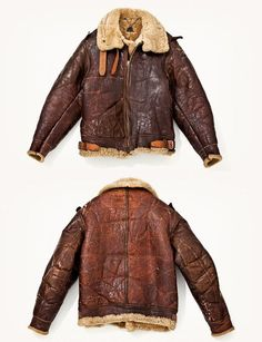 Vintage Shearling Leather Bomber Jacket. Men's Fall Winter Fashion.