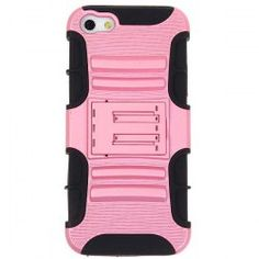 @everbuying  $3.55 Fashion Design 2 in 1 Detachable Plastic and Silicone Hybrid Case Cover with Stand for iPhone 5 (Black and Pink) #gifts