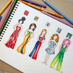 Drinks-Dresses I see everybody drawing these kind of dresses inspired by so I decided to have my own attempt at this, but with this time with drinks (Coca Cola, Fanta, Pepsi, Arizona and Starbucks) What's your favourite drink? App Drawings, Disney Drawings, Art Sketches, Sketchbook Drawings, Amazing Drawings, Cute Drawings, Amazing Art, Awesome, Fashion Design Drawings