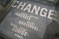 The installation reflects on the dynamic relationship between business and change. (UW, PACCAR Hall)