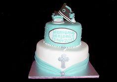 Gâteau de baptême pour un petit garçon Cake baptism Cake Decorating, Milan, Desserts, Religion, Cakes, Design, Christening, Food Cakes, Small Boy