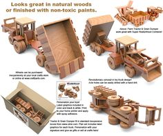 Super ReallyWood Big Farm Tractor $ Grain Dumper Full-Size Wood Toy Plan Set
