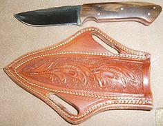 Custom Knife, Leather Knife Sheath. I really like the sheath style.