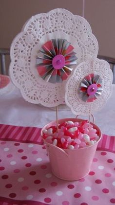 Robyn A's Tea Party / Tea Party - Photo Gallery at Catch My Party Paper Rosettes, Paper Doilies, Paper Pinwheels, Girls Tea Party, Tea Party Birthday, Tea Party Centerpieces, Doilies Crafts, Diy And Crafts, Paper Crafts