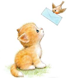 Kitty by Ruth Morehead Cute Animal Illustration, Cute Animal Drawings, Cartoon Drawings, Cute Drawings, Cute Images, Cute Pictures, Baby Animals, Cute Animals, Kitten Drawing