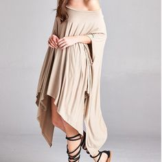 Muted Taupe Unbalanced Poncho Tunic/Dress One Size Fits All Short Sleeve Off Shoulder Unbalanced Asymmetrical T-shirt Style Poncho/Tunic/Dress  Best fits anyone up to a large..95% Rayon 5% Spandex...Taupe Color Is Closer 2 Color In 1st Pic...Can Be Worn On Or Off One Shoulder As A Poncho, Dress Or Tunic With Leggings, Bells, Skinny Jeans, Cutoff Shorts ect...Don't miss out on these beauties as I only have a few left & won't be able to restock them...Also Avail In White         No Trades…