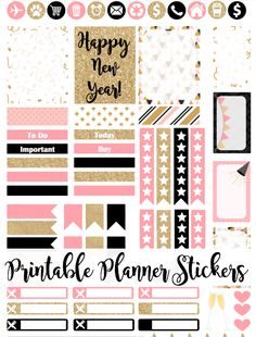 Free Printable Pink & Gold Glitter New Year's Planner Stickers from Munchkins and the Miltary