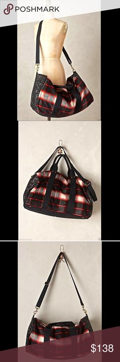 "Anthropologie red & black plaid croosbody bag Anthropologie Deux Lux red & black wool blend plaid w/ black sequin sided Papillon Weekender   Wool, polyester; cotton lining   Three inner pockets   Removable crossbody / shoulder strap   Zip closure            New Without Tags  *  Dust Cover Included              retail price:  $158.00                         measures:               13"" H  x  23""W  x  13""D                       14"" strap drop; 7"" handle drop                 adjustable removable…"