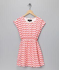 coral dress - girls