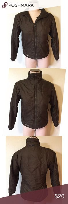"""Columbia Titanium green lightweight liner jacket S Brownish green Titanium Interchange lightweight liner jacket from Columbia. Women's size small, please see measurements below. Gently worn with light signs of normal wash and wear. Zipper pulls show some wear. No stains, holes or other major flaws.  Measurements taken across front with garment laying flat. Chest (armpit to armpit): 19"""" Length: 22"""" Sleeve length (shoulder seam to wrist): 22"""" Columbia Jackets & Coats"""