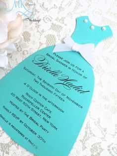 Tiffany Inspired Bridal Shower Invitation Invitation Dress invitation for Sweet Sixteen Quinceanera