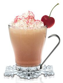 Cuppa Good Cheer Recipe: 1.5 oz. SKYY Infusions Cherry, 0.5 oz. white creme de cacao, 4 oz. Hot Cocoa,  1 oz. Half 'n Half , Whipped Cream,   Maraschino Cherry