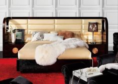 Modern Leather Lacquer Tufted Block Headboard Queen Size Bed Frame