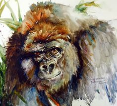 Stunning Silverback by superb American artist Bev Jozwiak Watercolor Animals, Watercolor Paintings, Watercolor Ideas, Monkey Art, Thai Art, Lovely Creatures, Modern Artwork, African Animals, Watercolor Portraits