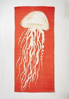 Cast a Wide Nettle Rug - Red, Print with Animals, Print, Nautical, Better, Tan / Cream
