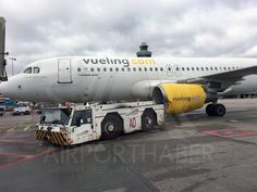 PHOTO Tow Truck hits left engine of Vueling Flight #VY6290 at Amsterdam Schiphol Airport. (2-MAR-2017). @AirportHaber