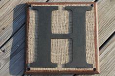 Burlap Monogram Letters Wood Wall Plaque Rustic  Western Decor Alphabet A -Z