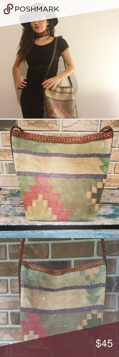 Southwestern Boho Bag Super amazing boho bag. Has some faded spots as you can see in the picture otherwise it's in great condition! Love this bag it's super unique🤗 Vintage Bags Crossbody Bags