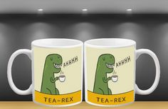 11oz White Tea rex dinosaur mug  Novelty humorous by FreshPrintsCo