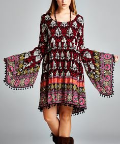 Another great find on #zulily! VELZERA Red Geometric Bell-Sleeve Dress by VELZERA #zulilyfinds